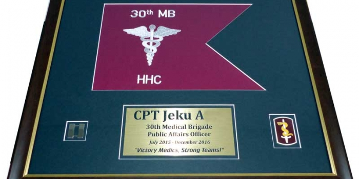 30th MB HHC Guidon Framing by Trophy Center
