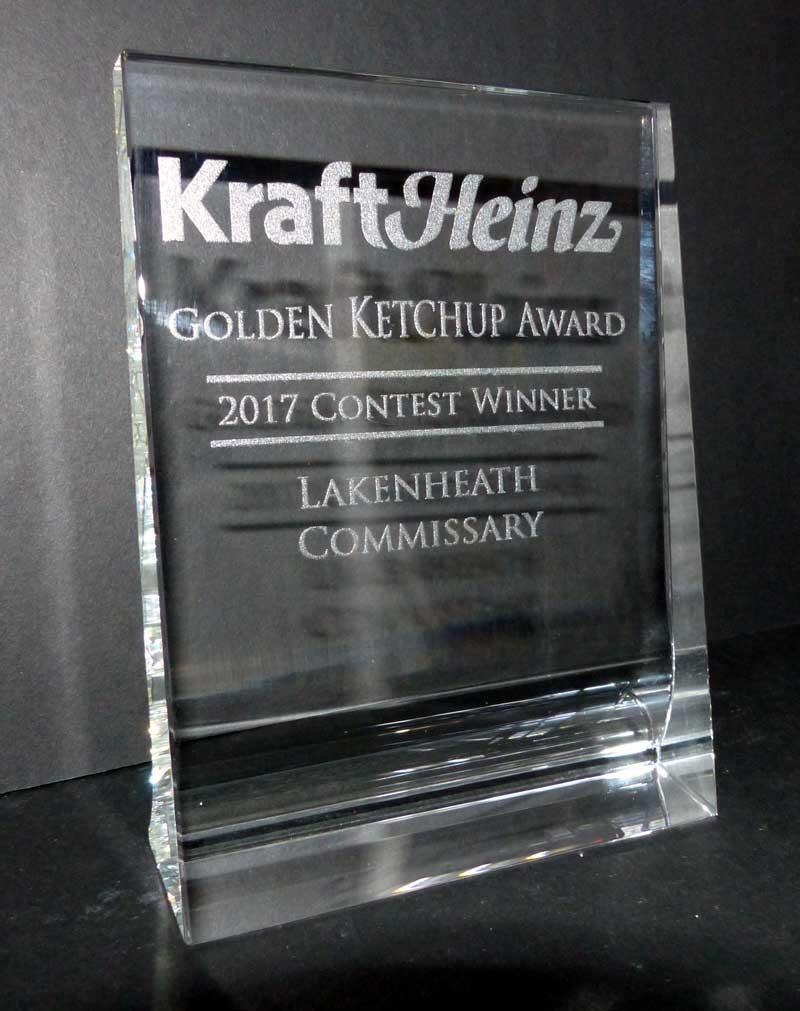 Crystal Glass Award USAF US Army Trophy Center Trophy Shop Frame ...