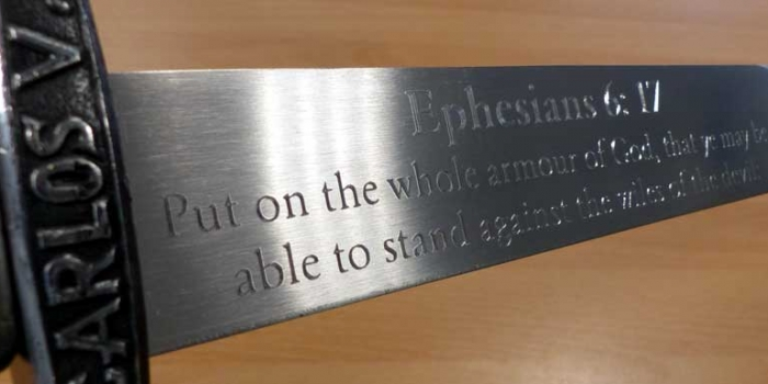 Sword engraved
