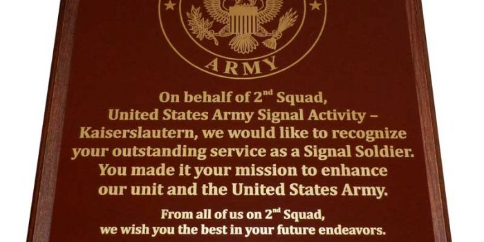 US Army Plaque Brass Brown