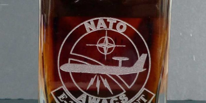 Whiskey Bottle Engraved Nato Awacs E 3A Component Otan Glass Engraving Kulbick Sandra &  Jochen
