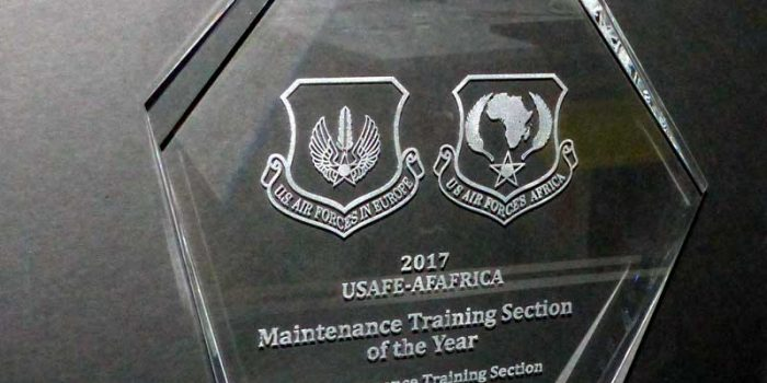 Crystal Glass Awards Trophy USAFE AFAFRICA