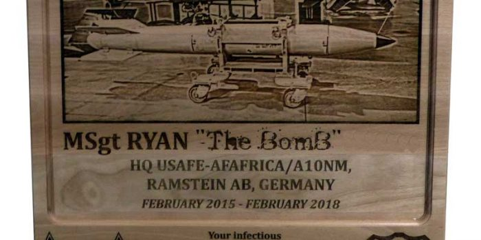 Townboard Plaque Full Engraved USAF MSgt E7 USAFE