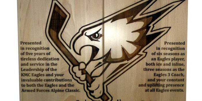 KMC Eagles Double Wood Award Trophy Center Trophy Shop Frame Shop