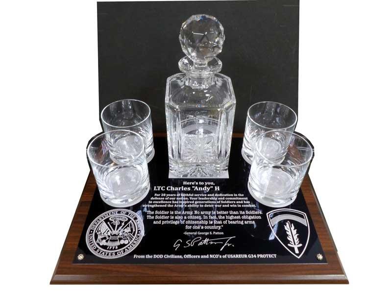 Crystal Glass Decanter Glasses Aluminum Plaque Usareur