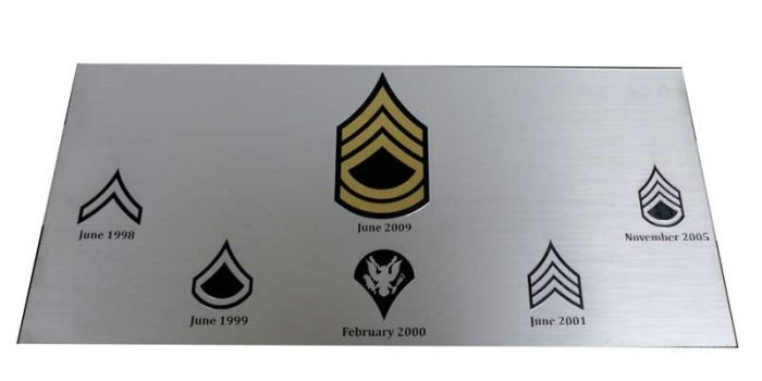 Silver Sign with Army Rank Shape Cutout Gold Sign Trophy Center Trophy Shop Frame Shop