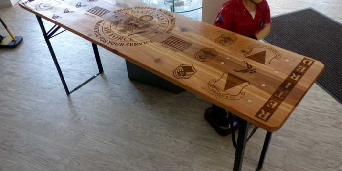 Beer Table Bench Regulars' Table Full Engraved 1770 x 460mm  |/  69,69 x 18,11 Inch Retirement Gift ONLY AT THE AWESOME Trophy Center Kaiserslautern Trophy Shop Kaiserslautern 2 miles from Ramstein Air Base Engraving Frame Shop Coins Stamps Embroidery Guidons Awards Plaques Engraver Graveur Gravur Sandra & Jochen Kulbick 3rd Generation of Professional Engravers Est. 1952