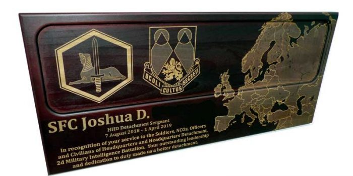License Plate Plaque Dark Wood Full Engraved 2d MI Military Intelligence Battalion Wiesbaden | Trophy Center | Trophy Shop Kaiserslautern Ramstein Air Base Engraving Frame Shop Coins Stamps Embroidery Guidons Awards Plaques Engraver Graveur Gravur Graviert Eingraviert | Sandra & J.R. Kulbick 3rd Generation of Professional Engravers Est. 1952 | Only in Kaiserslautern-Einsiedlerhof underneath Hacienda Mexican Restaurant | Wiesbaden | Baumholder | Spangdahlem | Stuttgart | Grafenwoehr | Sembach | Landstuhl | Vilseck | Brunssum | Shape | US Army | USAFE |  Nato | Otan | E-Mail: info@trophy-center.de