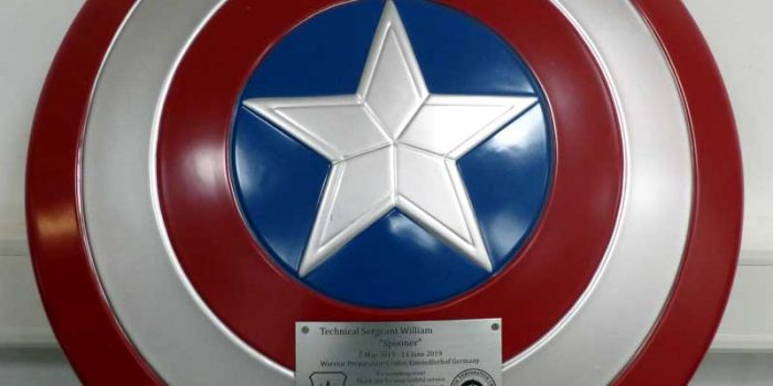 Captain America Sign Plate Mounted | Trophy Center | Trophy Shop Kaiserslautern Ramstein Air Base Engraving Frame Shop Coins Stamps Embroidery Guidons Awards Plaques Engraved Graveur Gravur Graviert | Sandra & J.R. Kulbick 3rd Generation of Professional Engravers Est. 1952 | Only in Kaiserslautern-Einsiedlerhof underneath Hacienda Mexican Restaurant | Wiesbaden | Baumholder | Spangdahlem | Stuttgart | Grafenwoehr | Sembach | Landstuhl | Vilseck | Brunssum | Shape | US Army | USAFE |  Nato | Otan | Bundeswehr | E-Mail: info@trophy-center.de