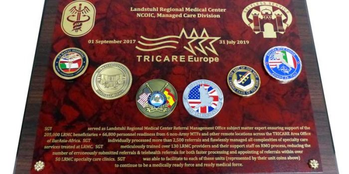 Tricare Europe LRMC MEDCOM Plaque with Coins | Trophy Center | Trophy Shop Kaiserslautern Ramstein Air Base Engraving Frame Shop Coins Stamps Embroidery Guidons Awards Plaques Engraved Graveur Gravur Graviert | Sandra & J.R. Kulbick 3rd Generation of Professional Engravers Est. 1952 | Only in Kaiserslautern-Einsiedlerhof underneath Hacienda Mexican Restaurant | Wiesbaden | Baumholder | Spangdahlem | Stuttgart | Grafenwoehr | Sembach | Landstuhl | Vilseck | Brunssum | Shape | US Army | USAFE |  Nato | Otan | Bundeswehr | E-Mail: info@trophy-center.de