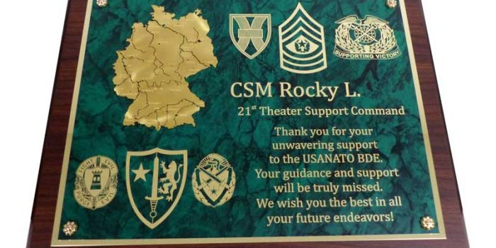11215 w 21st TSC CSM Going Away Gift USANATO BDE | Trophy Center | Sandra & J.R. Kulbick | Kaiserslautern | Est. 1952 | Trophy Shop |  Ramstein Air Base Engraving Frame Shop Coins Stamps Embroidery Guidons Awards Plaques Engraved Graveur Gravur Graviert | Only in Kaiserslautern-Einsiedlerhof underneath Hacienda Mexican Restaurant | Industriegravur Industriegravuren Rüstungsindustrie Messergravur Stempel Gravuren Pokale Medaillen Rahmungen Wiesbaden | Baumholder | Spangdahlem | Stuttgart | Grafenwoehr | Sembach | Landstuhl | Vilseck | Brunssum | Shape | USAREUR | USAFE |  Nato | Otan | Bundeswehr | E-Mail: info@trophy-center.de