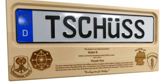 License Plate Plaque 5th MP CID USAREUR | Trophy Center | Sandra & J.R. Kulbick | Kaiserslautern | Est. 1952 | Trophy Shop |  Ramstein Air Base Engraving Frame Shop Coins Stamps Embroidery Guidons Awards Plaques Engraved Graveur Gravur Graviert | Only in Kaiserslautern-Einsiedlerhof underneath Hacienda Mexican Restaurant | Industriegravur Industriegravuren Rüstungsindustrie Messergravur Stempel Gravuren Pokale Medaillen Rahmungen Wiesbaden | Baumholder | Spangdahlem | Stuttgart | Grafenwoehr | Sembach | Landstuhl | Vilseck | Brunssum | Shape | USAREUR | USAFE |  Nato | Otan | Bundeswehr | E-Mail: info@trophy-center.de