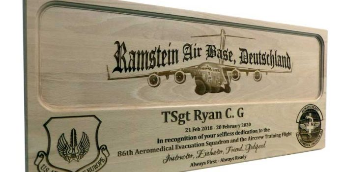 License Plate Plaque Ramstein Air Base Aircraft | Trophy Center | Sandra & J.R. Kulbick | Only in Kaiserslautern | Est. 1952 | Trophy Shop |  Engraving Frame Shop Coins Stamps Embroidery Guidons Awards Plaques Engraved Graveur Gravur Graviert | Kaiserslautern-Einsiedlerhof underneath Hacienda Mexican Restaurant | Industriegravur Industriegravuren Rüstungsindustrie Messergravur Stempel Gravuren Pokale Trophäen Medaillen | US Army | US Air Force |  Nato | Bundeswehr | E-Mail: info@trophy-center.de