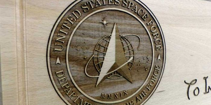USSF United States Space Force Logo | Trophy Center | Sandra & J.R. Kulbick | Only in Kaiserslautern | Est. 1952 | Trophy Shop |  Engraving Frame Shop Coins Stamps Embroidery Guidons Awards Plaques Engraved Graveur Gravur Graviert | Kaiserslautern-Einsiedlerhof underneath Hacienda Mexican Restaurant | Industriegravur Industriegravuren Rüstungsindustrie Messergravur Stempel Gravuren Pokale Trophäen Medaillen | US Army | US Air Force |  Nato | Bundeswehr | E-Mail: info@trophy-center.de