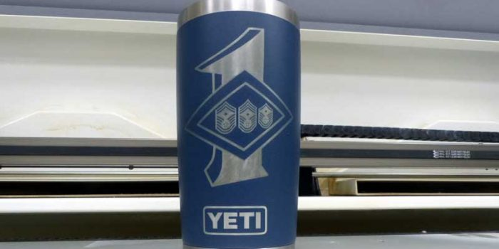 YETI Cup Mug Engraving | Trophy Center | Sandra & J.R. Kulbick | Only in Kaiserslautern | Est. 1952 | Trophy Shop |  Engraving Frame Shop Coins Stamps Embroidery Guidons Awards Plaques Engraved Graveur Gravur Graviert | Kaiserslautern-Einsiedlerhof underneath Hacienda Mexican Restaurant | Industriegravur Industriegravuren Rüstungsindustrie Messergravur Stempel Gravuren Pokale Trophäen Medaillen | US Army | US Air Force |  Nato | Bundeswehr | E-Mail: info@trophy-center.de
