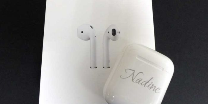 AirPods Engraving | Trophy Center | Sandra & J.R. Kulbick | Only in Kaiserslautern | Est. 1952 | Trophy Shop | 2 MILES FROM RAMSTEIN AIR BASE | Engraving Frame Shop Coins Stamps Embroidery Guidons Awards Plaques Engraved Signs Messergravur Graveur Gravur Graviert | Kaiserslautern-Einsiedlerhof underneath Hacienda Mexican Restaurant | Messergravur Stempel Gravuren Pokale Trophäen Medaillen Schilder | US Army | US Air Force |  Nato | Bundeswehr | E-Mail: info@trophy-center.de