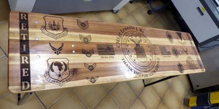 Beertable Engraved Engraving CMSgt E9 USAF | Trophy Center | Sandra & J.R. Kulbick | Only in Kaiserslautern | Est. 1952 | Trophy Shop | 2 MILES FROM RAMSTEIN AIR BASE | Engraving Frame Shop Coins Stamps Embroidery Guidons Awards Plaques Engraved Signs Messergravur Graveur Gravur Graviert | Kaiserslautern-Einsiedlerhof underneath Hacienda Mexican Restaurant | Messergravur Stempel Gravuren Pokale Trophäen Medaillen Schilder | US Army | US Air Force |  Nato | Bundeswehr | E-Mail: info@trophy-center.de