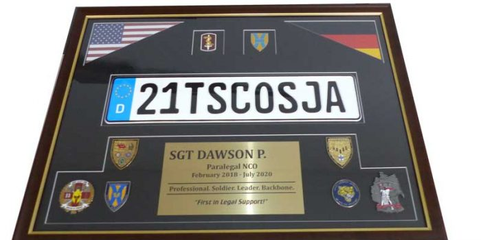 Frame Shop Framing Paralegal NCO 21st TSC OSJA 30th MED BDE | Trophy Center | Sandra & J.R. Kulbick | Only in Kaiserslautern | Est. 1952 | Trophy Shop | 2 MILES FROM RAMSTEIN AIR BASE | GO OFF BASE TO THE AWESOME TROPHY CENTER | Engraving Frame Shop Coins Stamps Embroidery Guidons Awards Plaques Engraved Signs Graveur Gravur Graviert | Kaiserslautern-Einsiedlerhof underneath Hacienda Mexican Restaurant | Stempel Gravuren Pokale Schilder | US Army | US Air Force | KMCC | Nato | Bundeswehr | Support Local | E-Mail: info@trophy-center.de