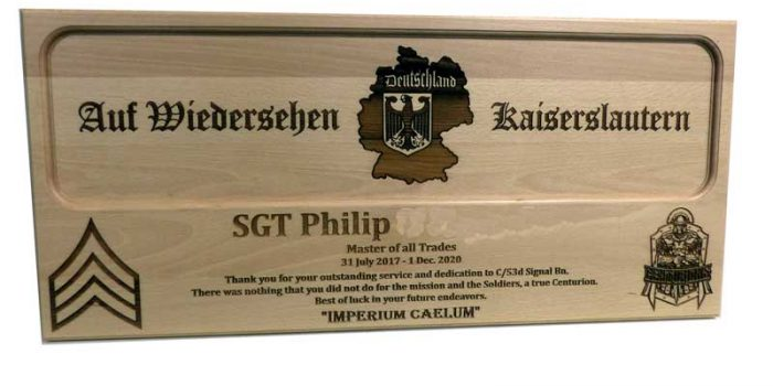53d Signal Bn Award| Trophy Center | Sandra & J.R. Kulbick | Only in Kaiserslautern | Est. 1952 | Trophy Shop | 2 MILES FROM RAMSTEIN AIR BASE | GO OFF BASE TO THE AWESOME TROPHY CENTER | Engraving Frame Shop Coins Stamps Embroidery Guidons Awards Plaques Engraved Signs Graveur Gravur Graviert | Kaiserslautern-Einsiedlerhof underneath Hacienda Mexican Restaurant | Stempel Gravuren Pokale Schilder | US Army | US Air Force | KMCC | Nato | Bundeswehr | Support Local | E-Mail: info@trophy-center.de