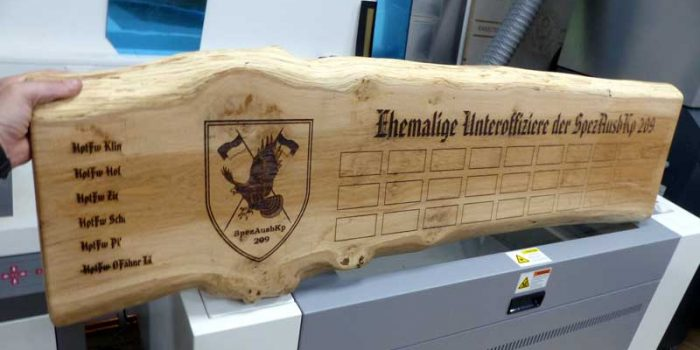 55 Inch Long  Wooden Board Engraved | Bundeswehr SpezAusbKp 209 | Trophy Center | Sandra & J.R. Kulbick | Only in Kaiserslautern | Est. 1952 | Trophy Shop | 2 MILES FROM RAMSTEIN AIR BASE | GO OFF BASE TO THE AWESOME TROPHY CENTER | Engraving Frame Shop Coins Stamps Embroidery Guidons Awards Plaques Engraved Signs Graveur Gravur Graviert | Kaiserslautern-Einsiedlerhof underneath Hacienda Mexican Restaurant | Stempel Gravuren Pokale Schilder | US Army | US Air Force | KMCC | Nato | Bundeswehr | Support Local | E-Mail: info@trophy-center.de