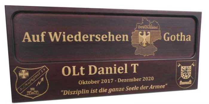 License Plate Plaque Full Engraved German Army Bundeswehr Gotha | Trophy Center | Sandra & J.R. Kulbick | Only in Kaiserslautern | Est. 1952 | Trophy Shop | 2 MILES FROM RAMSTEIN AIR BASE | GO OFF BASE TO THE AWESOME TROPHY CENTER | Engraving Frame Shop Coins Stamps Embroidery Guidons Awards Plaques Engraved Signs Graveur Gravur Graviert | Kaiserslautern-Einsiedlerhof underneath Hacienda Mexican Restaurant | Stempel Gravuren Pokale Schilder | US Army | US Air Force | KMCC | Nato | Bundeswehr | Support Local | E-Mail: info@trophy-center.de