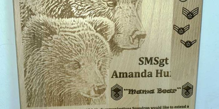 Pic Engraving 603 ACOMS Mama Bear E9 SMSgt USAF | Trophy Center | Sandra Kulbick & J.R. Kulbick | Only in Kaiserslautern | Est. 1952 | Trophy Shop | 2 MILES FROM RAMSTEIN AIR BASE | GO OFF BASE TO THE AWESOME TROPHY CENTER | Engraving Frame Shop Coins Stamps Embroidery Guidons Awards Plaques Engraved Etched Signs Graveur Gravur Graviert Eingraviert | Kaiserslautern-Einsiedlerhof underneath Hacienda Mexican Restaurant | Stempel Gravuren Pokale Schilder | US Army | US Air Force | KMCC | Nato | Bundeswehr | Support Local | Stay Safe & Healthy | E-Mail: info@trophy-center.de