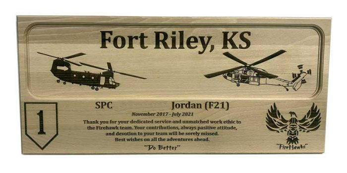 License Plate Plaque Full Engraved 1st ID Fort Riley Chinook Black Hawk FireHawks | Trophy Center | Sandra Kulbick & J.R. Kulbick | Only in Kaiserslautern | Est. 1952 | Trophy Shop | 2 MILES FROM RAMSTEIN AIR BASE | GO OFF BASE TO THE AWESOME TROPHY CENTER | Engraving Frame Shop Challenge Coins Stamps Embroidery Guidons Awards Plaques Engraved Etched Signs Graveur Gravur Graviert Eingraviert | E4 Mafia Friendly | Stempel Gravuren Pokale Schilder | US Army | US Air Force | USSF Space Force | KMCC | Nato | Bundeswehr | Support Local | Shop Local | Kaiserslautern-Einsiedlerhof underneath Hacienda Mexican Restaurant | No Charge Per Letter | No Charge Per Logo | Stay Safe & Healthy | E-Mail: info@trophy-center.de