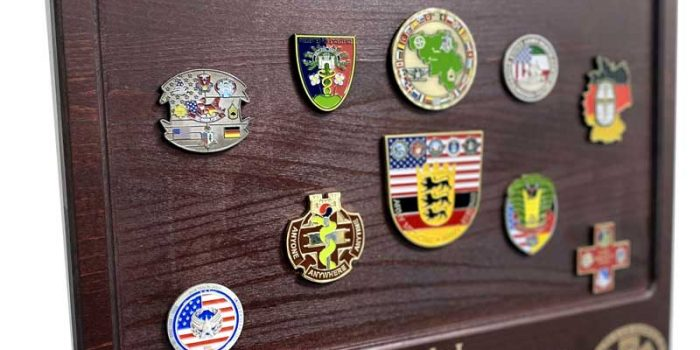 Town Board Dark Wood a lot of Challenge Coins MEDCOM LRMC | Trophy Center | Sandra Kulbick & J.R. Kulbick | Only in Kaiserslautern | Est. 1952 | Trophy Shop | 2 MILES FROM RAMSTEIN AIR BASE | GO OFF BASE TO THE AWESOME TROPHY CENTER | Engraving Frame Shop Challenge Coins Stamps Embroidery Guidons Awards Plaques Engraved Etched Signs Graveur Gravur Graviert Eingraviert | E4 Mafia Friendly | Stempel Gravuren Pokale Schilder | US Army | US Air Force | USSF Space Force | KMCC | Nato | Bundeswehr | Support Local | Shop Local | Kaiserslautern-Einsiedlerhof underneath Hacienda Mexican Restaurant | No Charge Per Letter | No Charge Per Logo | Stay Safe & Healthy | E-Mail: info@trophy-center.de