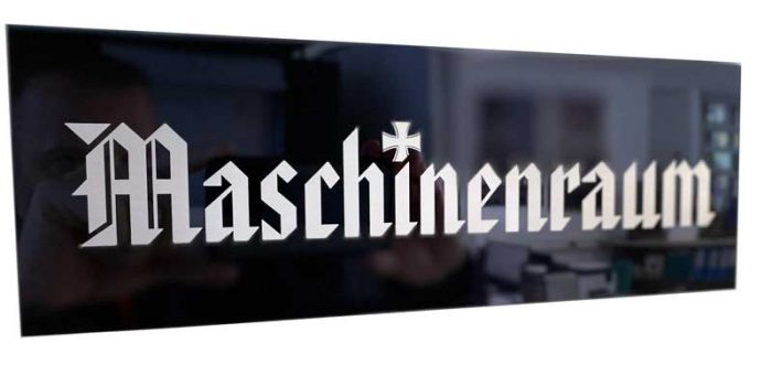 Maschinenraum Plate Sign Aluminum | Trophy Center | Sandra Kulbick & J.R. Kulbick | Only in Kaiserslautern | Est. 1952 | Trophy Shop | 2 MILES FROM RAMSTEIN AIR BASE | GO OFF BASE TO THE AWESOME TROPHY CENTER | Engraving Frame Shop Challenge Coins Stamps Embroidery Guidons Awards Plaques Engraved Etched Signs Graveur Gravur Graviert Eingraviert | E4 Mafia Friendly | Stempel Gravuren Pokale Schilder | US Army | US Air Force | USSF Space Force | KMCC | Nato | Bundeswehr | Support Local | Shop Local | Kaiserslautern-Einsiedlerhof underneath Hacienda Mexican Restaurant | No Charge Per Letter | No Charge Per Logo | Stay Safe & Healthy | E-Mail: info@trophy-center.de