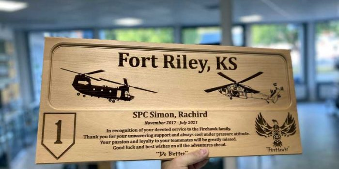 License Plate Plaque Full Engraved Fort Riley Fire Hawks | Trophy Center | Sandra Kulbick & J.R. Kulbick | Only in Kaiserslautern | Est. 1952 | Trophy Shop | 2 MILES FROM RAMSTEIN AIR BASE | GO OFF BASE TO THE AWESOME TROPHY CENTER | Engraving Frame Shop Challenge Coins Stamps Embroidery Guidons Awards Plaques Engraved Etched Signs Graveur Gravur Graviert Eingraviert | E4 Mafia Friendly | Stempel Gravuren Pokale Schilder | US Army | US Air Force | USSF Space Force | KMCC | Nato | Bundeswehr | Support Local | Shop Local | Kaiserslautern-Einsiedlerhof underneath Hacienda Mexican Restaurant | No Charge Per Letter | No Charge Per Logo | Stay Safe & Healthy | E-Mail: info@trophy-center.de